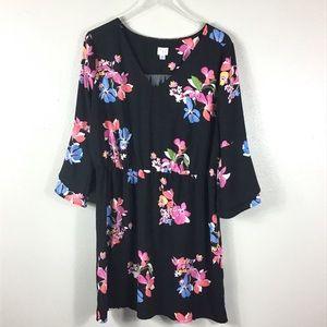 Black Floral Tunic/Dress, a new day Sz XL